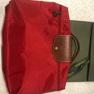 Long champ red brief case